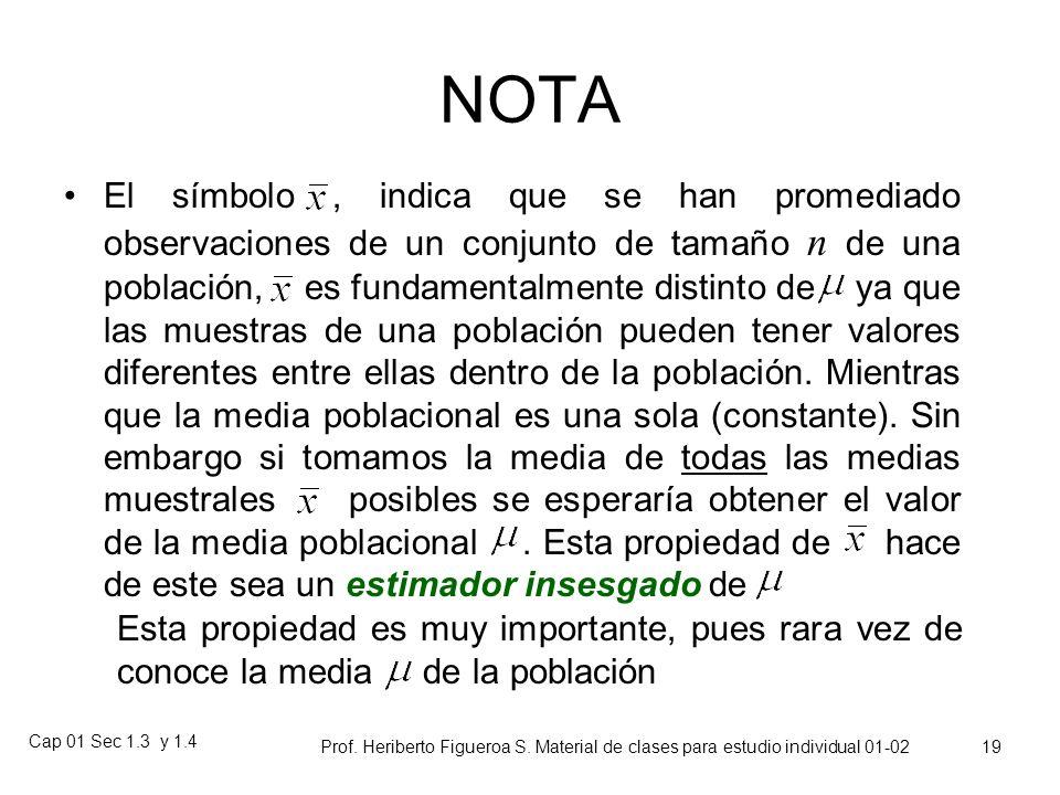 Cap 01 Sec 1.3 y 1.4 Prof. Heriberto Figueroa S. Material de clases para estudio individual 01-02 18 Media de un conjunto de números Para un conjunto