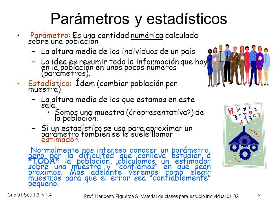 Cap 01 Sec 1.3 y 1.4 Prof. Heriberto Figueroa S. Material de clases para estudio individual 01-02 1 Capítulo 1. Estadística Descriptiva 1.3: Medidas d