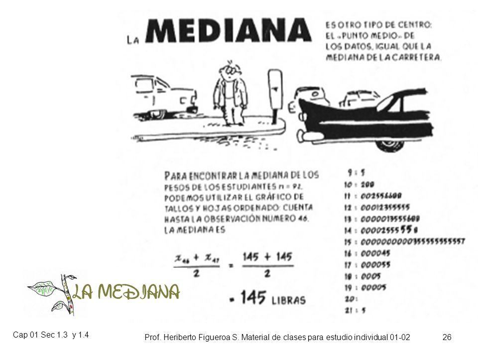 Cap 01 Sec 1.3 y 1.4 Prof. Heriberto Figueroa S. Material de clases para estudio individual 01-02 25 La mediana muestral, es el valor medio en un conj