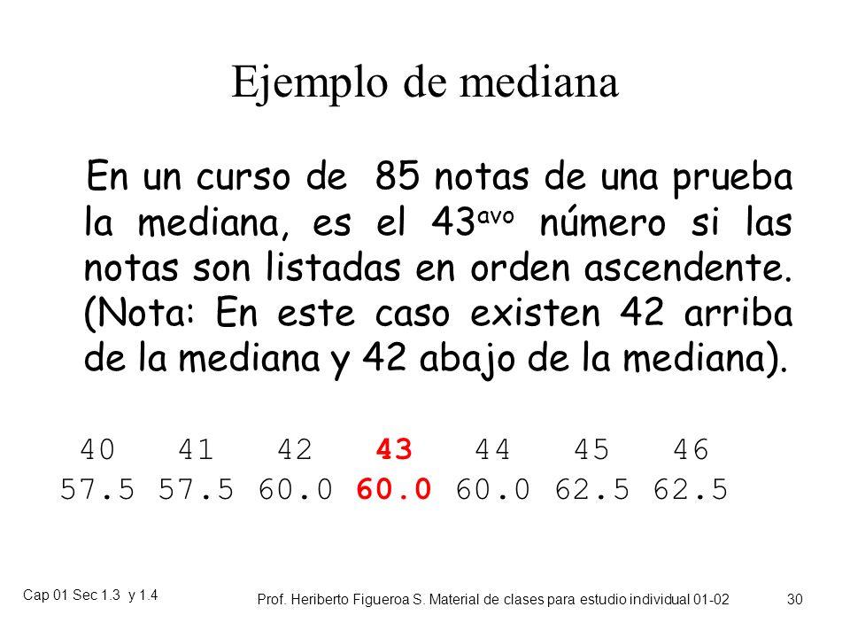 Cap 01 Sec 1.3 y 1.4 Prof. Heriberto Figueroa S. Material de clases para estudio individual 01-02 29 Mediana Poblacional Análogo a como valor muestral