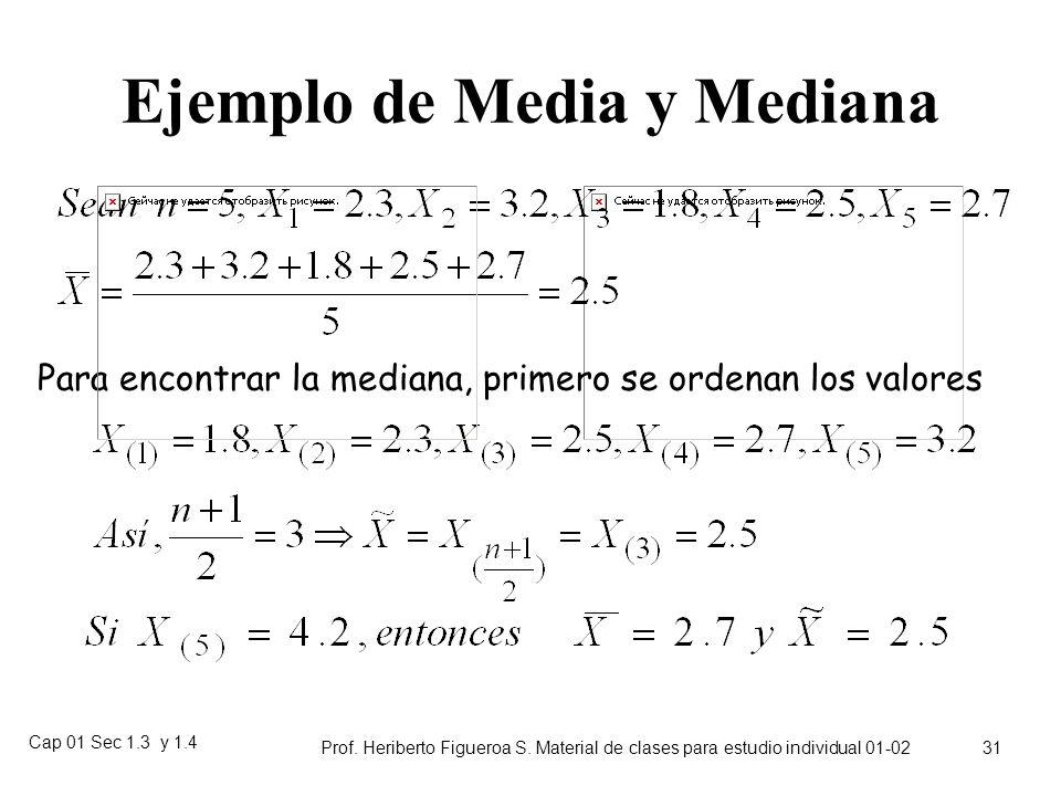 Cap 01 Sec 1.3 y 1.4 Prof. Heriberto Figueroa S. Material de clases para estudio individual 01-02 30 Ejemplo de mediana En un curso de 85 notas de una