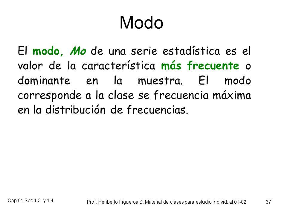 Cap 01 Sec 1.3 y 1.4 Prof. Heriberto Figueroa S. Material de clases para estudio individual 01-02 36 Sensitividad a los Valores Extremos Un conjunto d