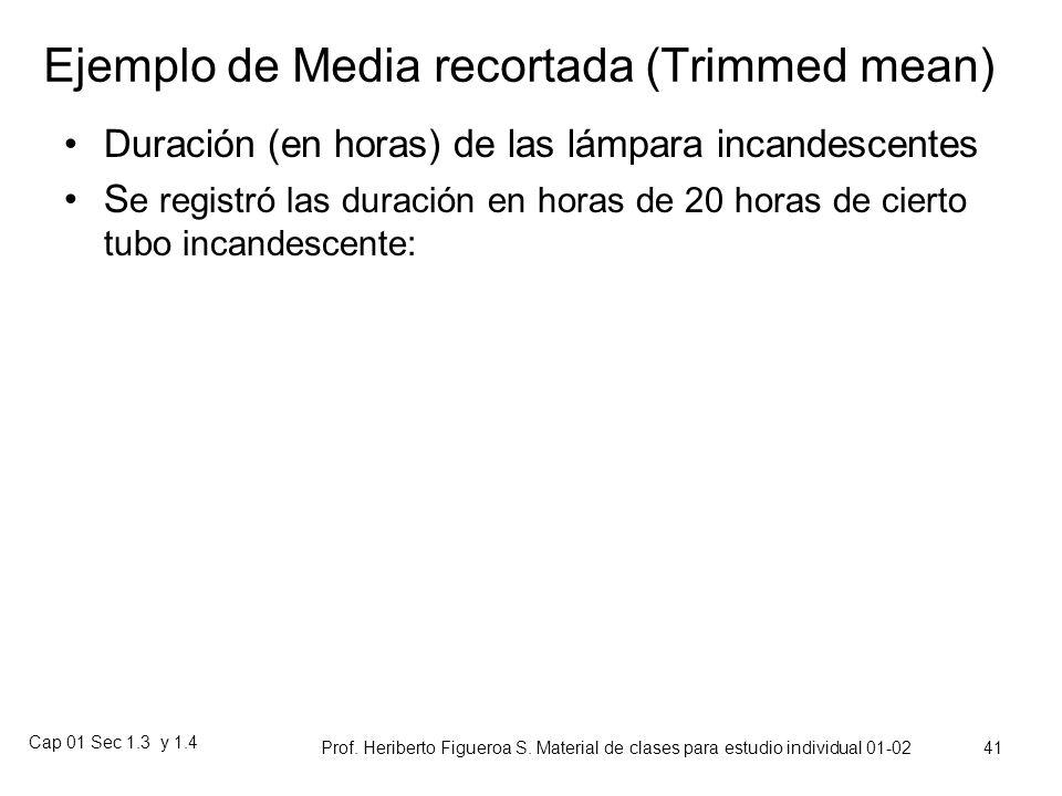 Cap 01 Sec 1.3 y 1.4 Prof. Heriberto Figueroa S. Material de clases para estudio individual 01-02 40 Robustez: Medias Recortadas Las medias y medianas