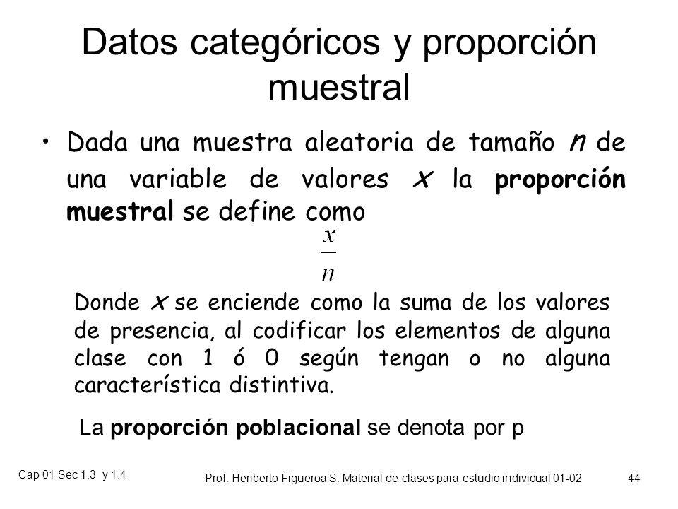 Cap 01 Sec 1.3 y 1.4 Prof. Heriberto Figueroa S. Material de clases para estudio individual 01-02 43 Otras medidas de localización La mediana (poblaci