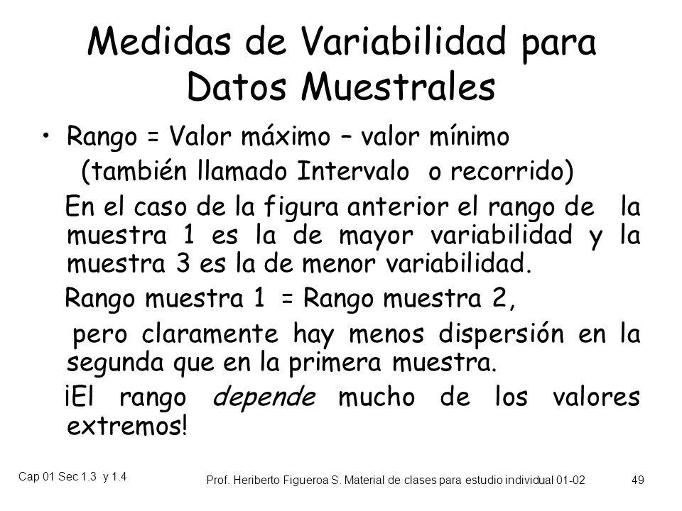Cap 01 Sec 1.3 y 1.4 Prof. Heriberto Figueroa S. Material de clases para estudio individual 01-02 48 Medidas de Variabilidad 304050 Muestras de medida