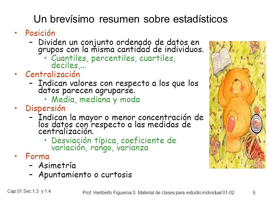 Cap 01 Sec 1.3 y 1.4 Prof. Heriberto Figueroa S. Material de clases para estudio individual 01-02 4 Distintos Estadísticos Descriptivos