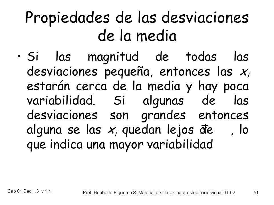 Cap 01 Sec 1.3 y 1.4 Prof. Heriberto Figueroa S. Material de clases para estudio individual 01-02 50 Desviaciones de la Media Se llaman desviaciones r