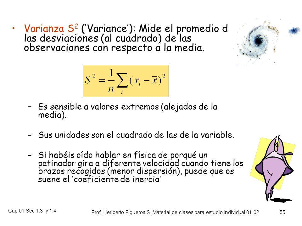 Cap 01 Sec 1.3 y 1.4 Prof. Heriberto Figueroa S. Material de clases para estudio individual 01-02 54 Miden el grado de dispersión (variabilidad) de lo