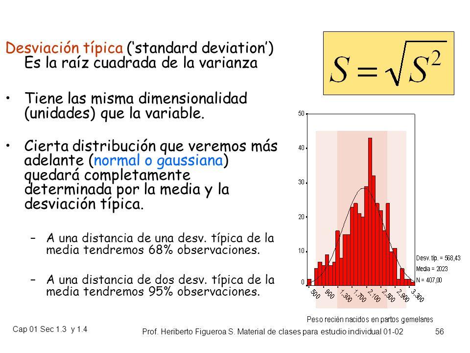 Cap 01 Sec 1.3 y 1.4 Prof. Heriberto Figueroa S. Material de clases para estudio individual 01-02 55 Varianza S 2 (Variance): Mide el promedio de las