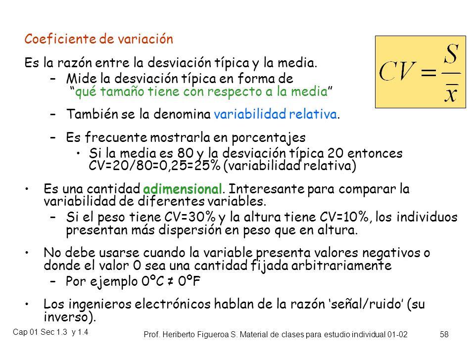Cap 01 Sec 1.3 y 1.4 Prof. Heriberto Figueroa S. Material de clases para estudio individual 01-02 57 Centrado en la media y a una desviación típica de