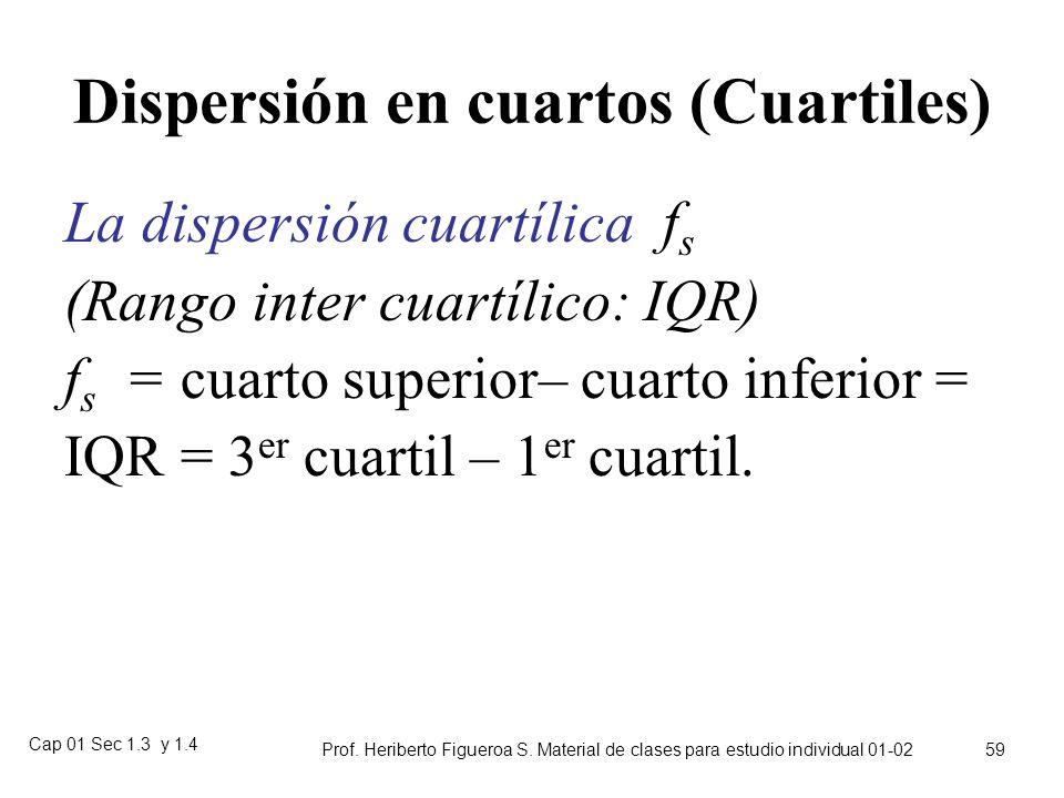 Cap 01 Sec 1.3 y 1.4 Prof. Heriberto Figueroa S. Material de clases para estudio individual 01-02 58 Coeficiente de variación Es la razón entre la des