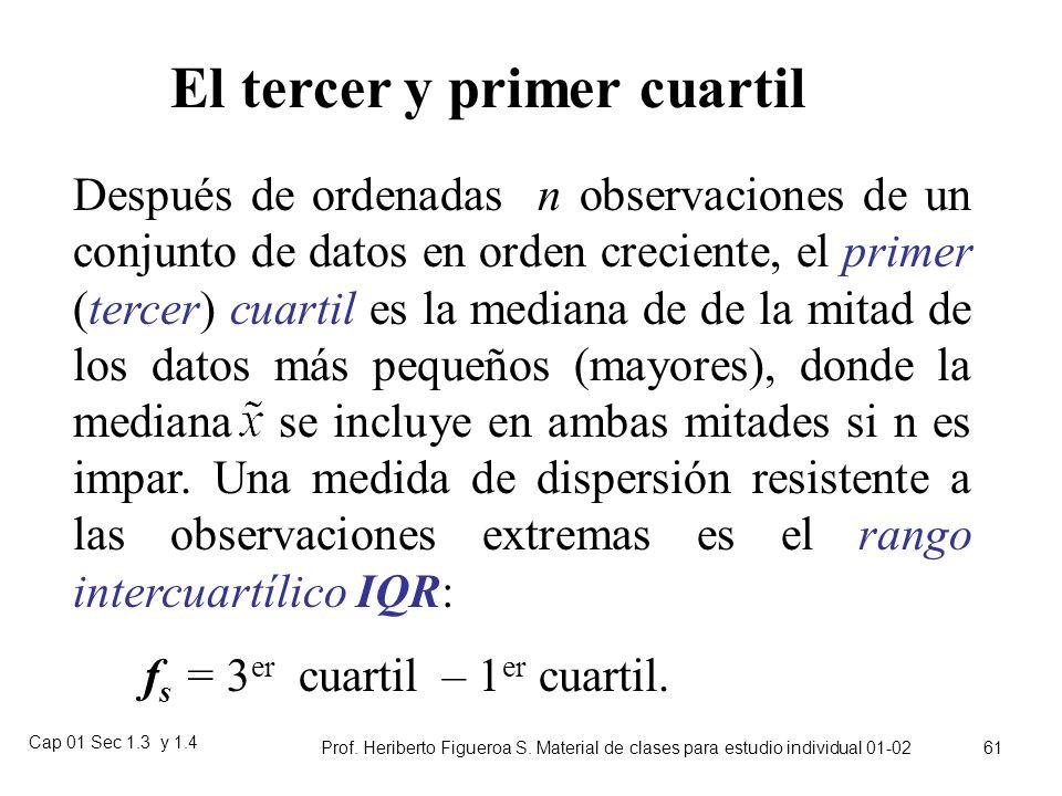 Cap 01 Sec 1.3 y 1.4 Prof. Heriberto Figueroa S. Material de clases para estudio individual 01-02 60 Cuartiles superior e inferior Una vez ordenada la