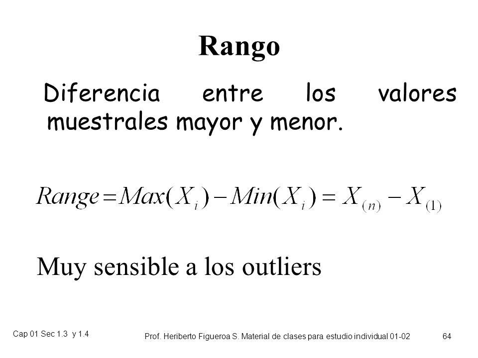 Cap 01 Sec 1.3 y 1.4 Prof. Heriberto Figueroa S. Material de clases para estudio individual 01-02 63 Ejemplo de gráfico de cajas Aislantes de alto vol