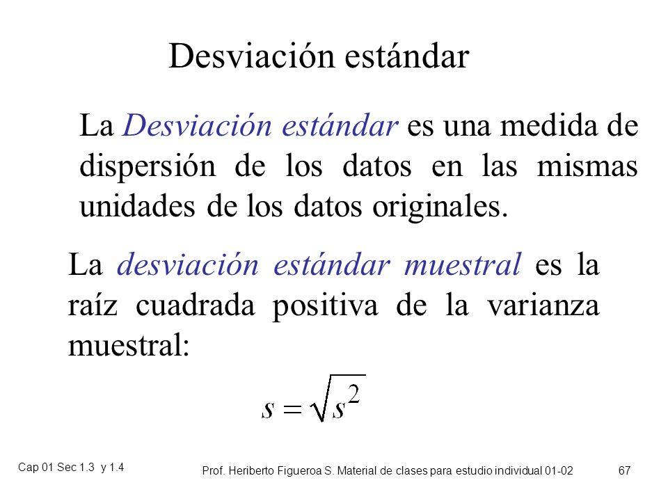 Cap 01 Sec 1.3 y 1.4 Prof. Heriberto Figueroa S. Material de clases para estudio individual 01-02 66 Ejemplo de varianza muestral Primero, encuentre l