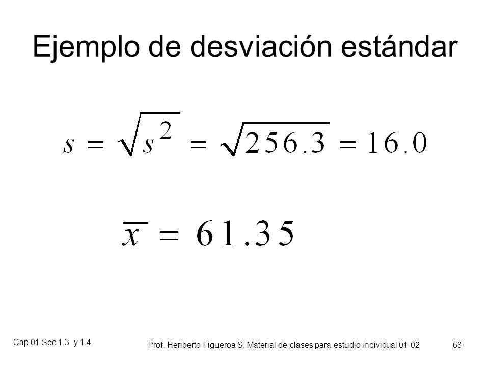 Cap 01 Sec 1.3 y 1.4 Prof. Heriberto Figueroa S. Material de clases para estudio individual 01-02 67 La desviación estándar muestral es la raíz cuadra