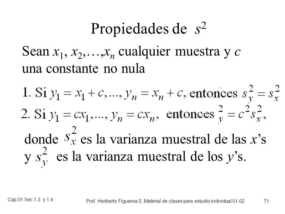 Cap 01 Sec 1.3 y 1.4 Prof. Heriberto Figueroa S. Material de clases para estudio individual 01-02 70 Fórmula para s 2 : Ejemplo abreviado Primero, sum