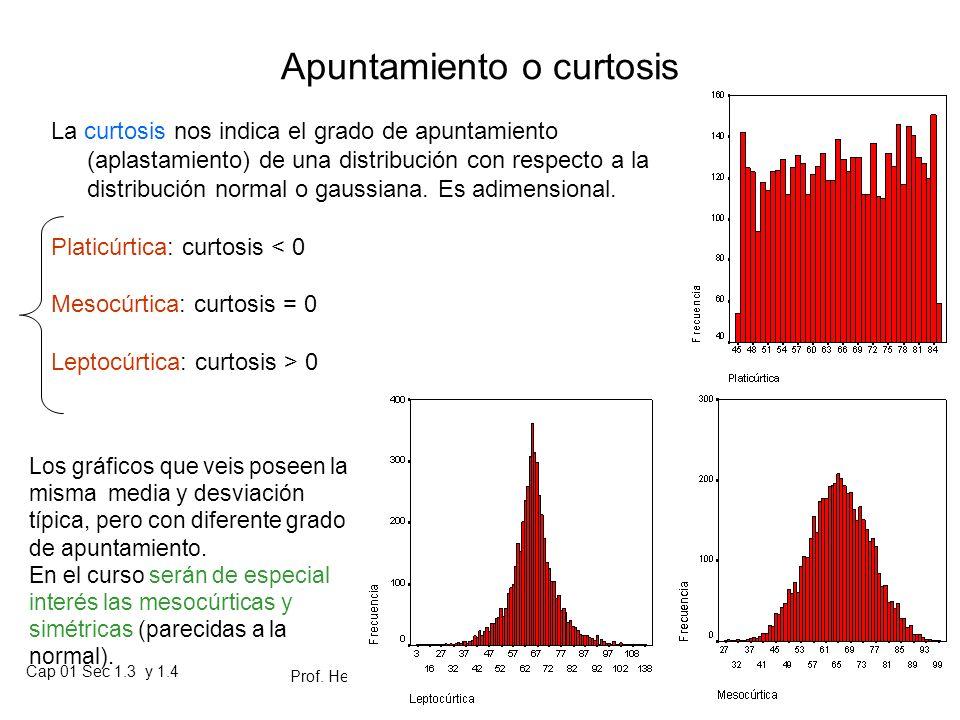 Cap 01 Sec 1.3 y 1.4 Prof. Heriberto Figueroa S. Material de clases para estudio individual 01-02 81 Estadísticos para detectar asimetría Hay diferent