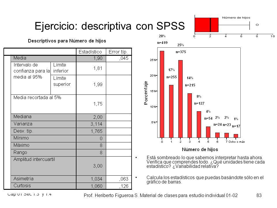 Cap 01 Sec 1.3 y 1.4 Prof. Heriberto Figueroa S. Material de clases para estudio individual 01-02 82 Apuntamiento o curtosis Los gráficos que veis pos