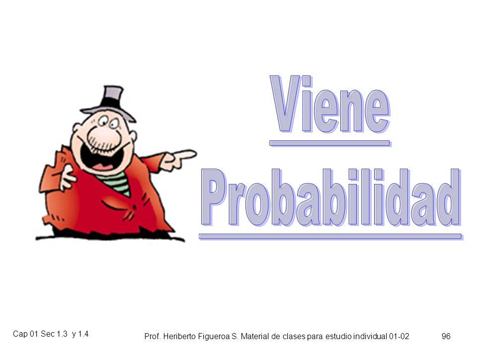 Cap 01 Sec 1.3 y 1.4 Prof. Heriberto Figueroa S. Material de clases para estudio individual 01-02 95 Tarea: Aguzar la vista Ejercicios Cap I, Sec II: