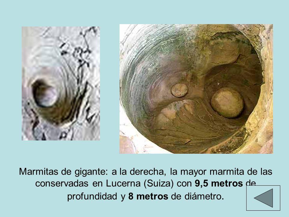 Marmitas de gigante: a la derecha, la mayor marmita de las conservadas en Lucerna (Suiza) con 9,5 metros de profundidad y 8 metros de diámetro.