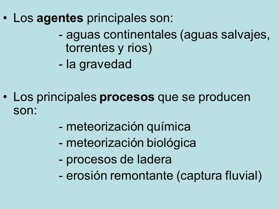 Los agentes principales son: - aguas continentales (aguas salvajes, torrentes y rios) - la gravedad Los principales procesos que se producen son: - me
