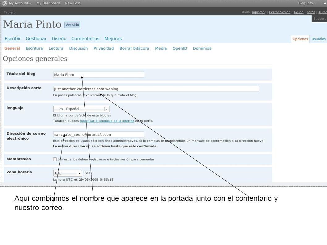 Luego cambiemos el tema o diseño de nuestra pagina apretando en Diseño.