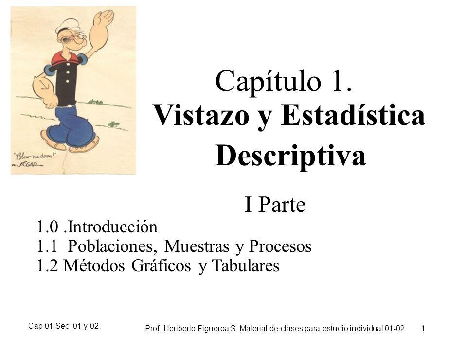 Cap 01 Sec 01 y 02 Prof. Heriberto Figueroa S. Material de clases para estudio individual 01-02 1 Capítulo 1. Vistazo y Estadística Descriptiva I Part