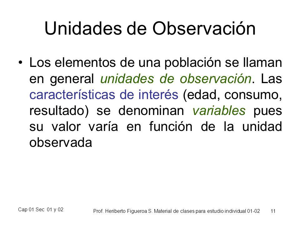 Cap 01 Sec 01 y 02 Prof. Heriberto Figueroa S. Material de clases para estudio individual 01-02 11 Unidades de Observación Los elementos de una poblac