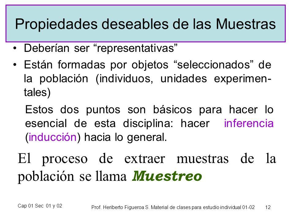 Cap 01 Sec 01 y 02 Prof. Heriberto Figueroa S. Material de clases para estudio individual 01-02 12 Propiedades deseables de las Muestras Deberían ser