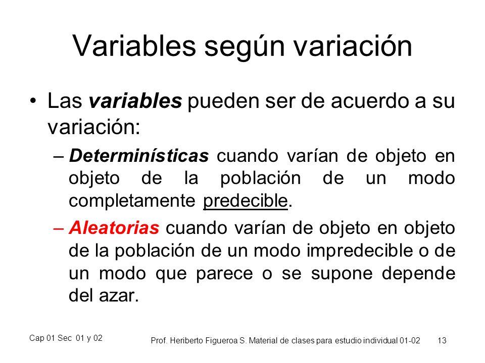 Cap 01 Sec 01 y 02 Prof. Heriberto Figueroa S. Material de clases para estudio individual 01-02 13 Variables según variación Las variables pueden ser