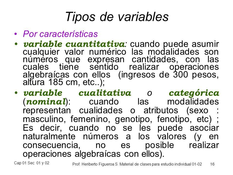 Cap 01 Sec 01 y 02 Prof. Heriberto Figueroa S. Material de clases para estudio individual 01-02 16 Tipos de variables Por características variable cua