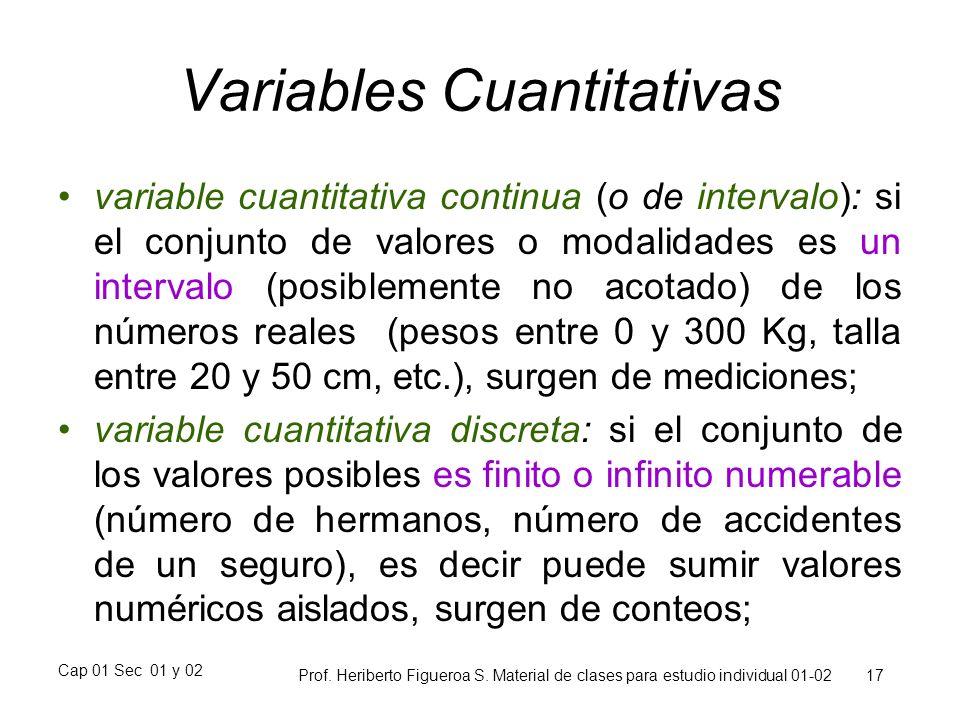 Cap 01 Sec 01 y 02 Prof. Heriberto Figueroa S. Material de clases para estudio individual 01-02 17 Variables Cuantitativas variable cuantitativa conti