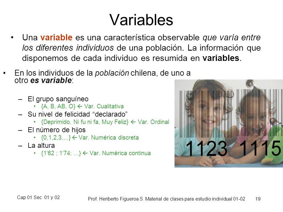 Cap 01 Sec 01 y 02 Prof. Heriberto Figueroa S. Material de clases para estudio individual 01-02 19 Variables Una variable es una característica observ