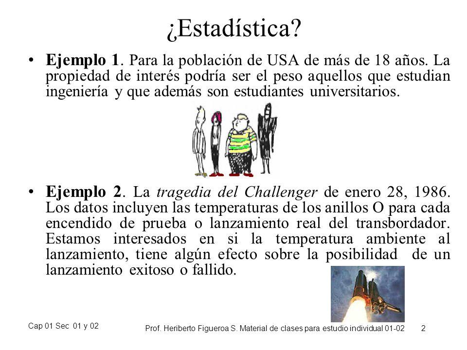Cap 01 Sec 01 y 02 Prof. Heriberto Figueroa S. Material de clases para estudio individual 01-02 2 ¿Estadística? Ejemplo 1. Para la población de USA de