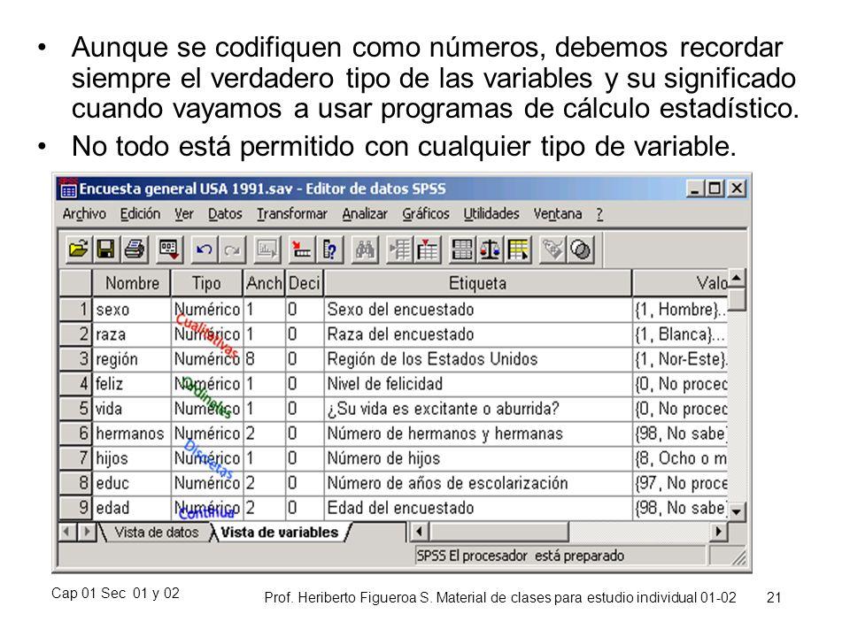 Cap 01 Sec 01 y 02 Prof. Heriberto Figueroa S. Material de clases para estudio individual 01-02 21 Aunque se codifiquen como números, debemos recordar