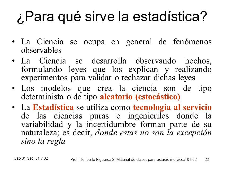 Cap 01 Sec 01 y 02 Prof. Heriberto Figueroa S. Material de clases para estudio individual 01-02 22 ¿Para qué sirve la estadística? La Ciencia se ocupa