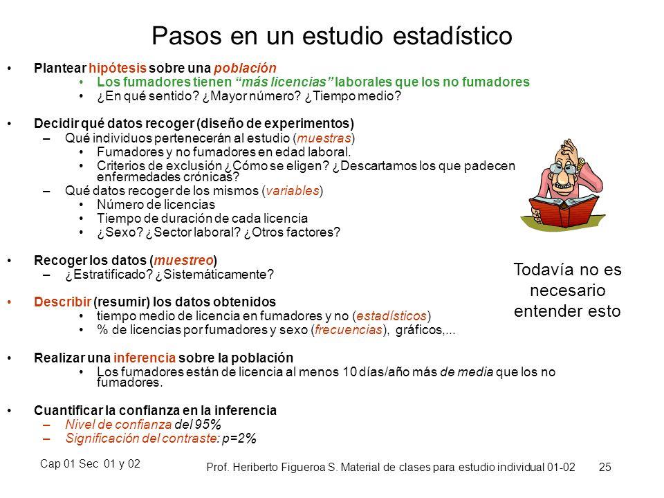 Cap 01 Sec 01 y 02 Prof. Heriberto Figueroa S. Material de clases para estudio individual 01-02 25 Pasos en un estudio estadístico Plantear hipótesis