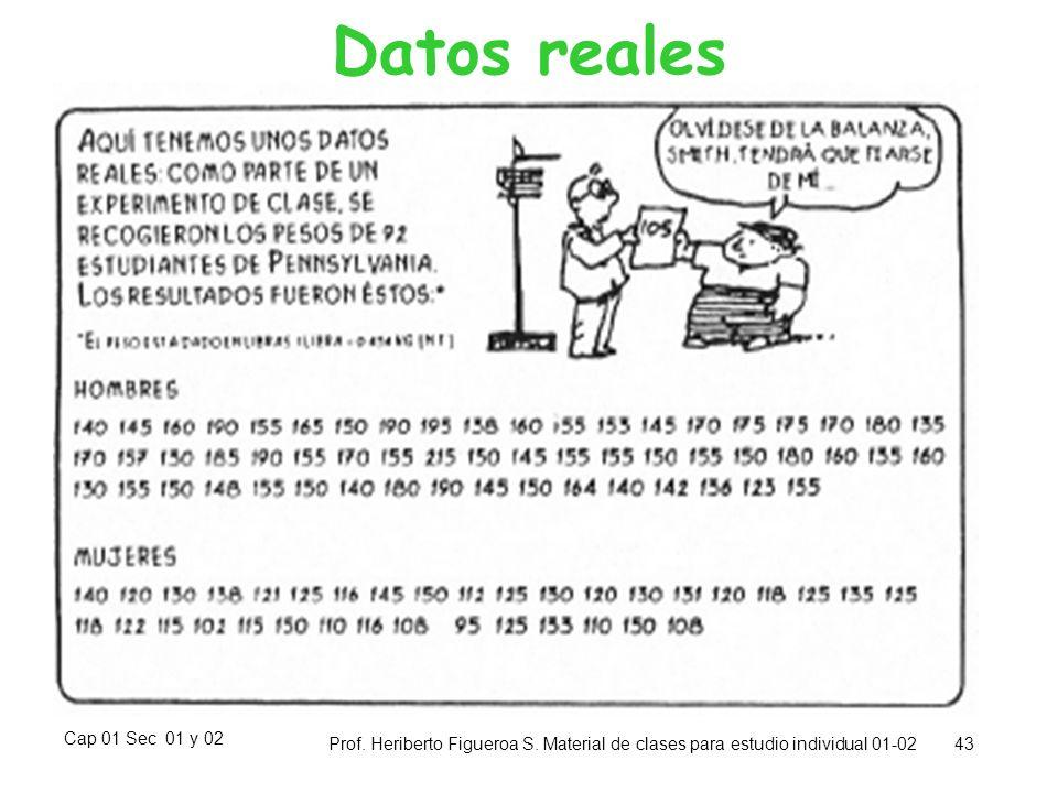 Cap 01 Sec 01 y 02 Prof. Heriberto Figueroa S. Material de clases para estudio individual 01-02 43 Datos reales