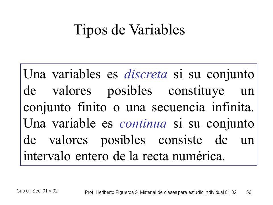 Cap 01 Sec 01 y 02 Prof. Heriberto Figueroa S. Material de clases para estudio individual 01-02 56 Tipos de Variables Una variables es discreta si su