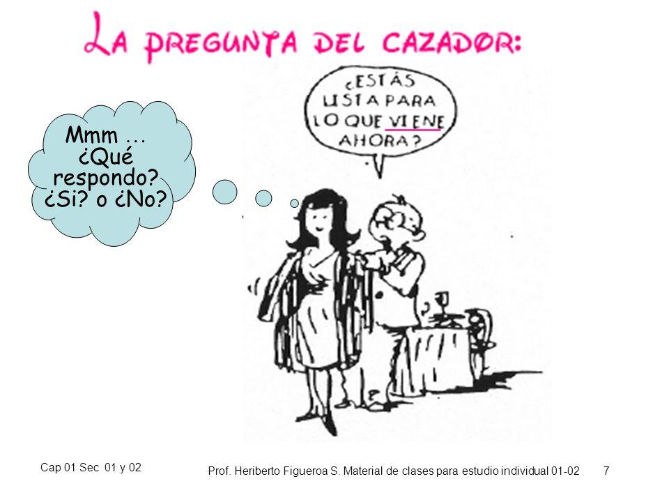 Cap 01 Sec 01 y 02 Prof. Heriberto Figueroa S. Material de clases para estudio individual 01-02 7 Mmm … ¿Qué respondo? ¿Si? o ¿No?