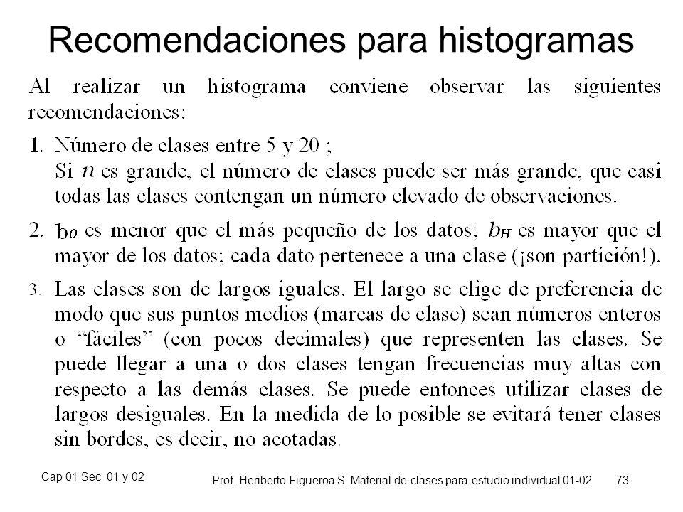 Cap 01 Sec 01 y 02 Prof. Heriberto Figueroa S. Material de clases para estudio individual 01-02 73 Recomendaciones para histogramas