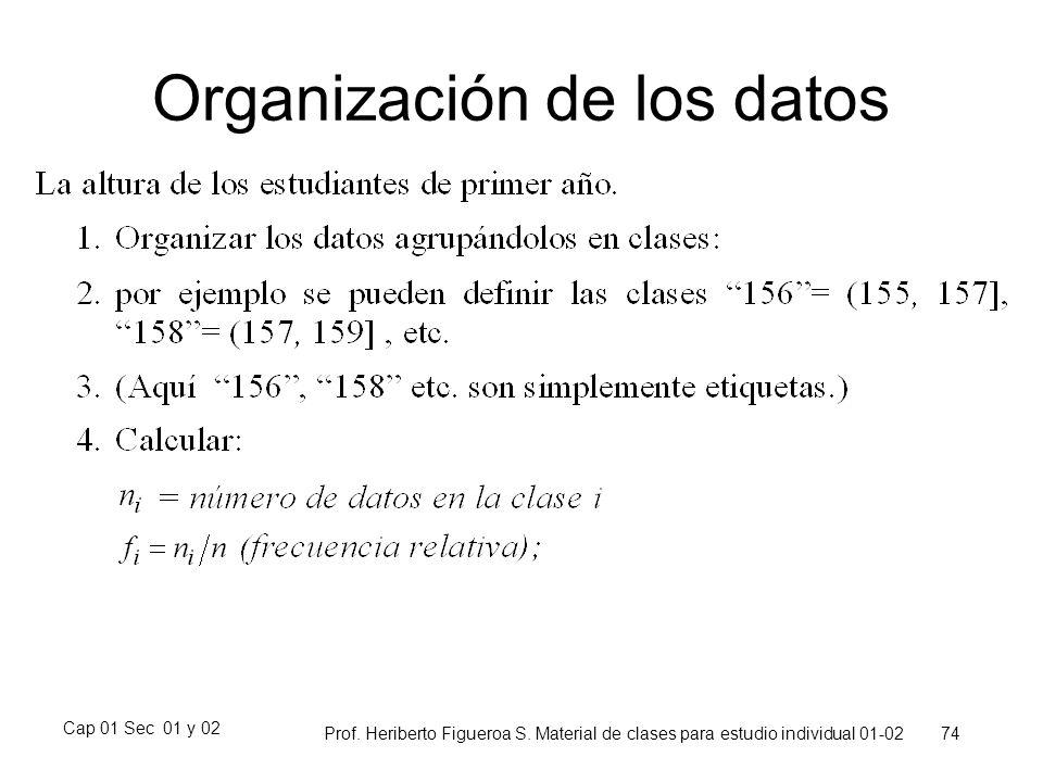 Cap 01 Sec 01 y 02 Prof. Heriberto Figueroa S. Material de clases para estudio individual 01-02 74 Organización de los datos