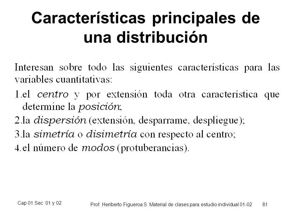 Cap 01 Sec 01 y 02 Prof. Heriberto Figueroa S. Material de clases para estudio individual 01-02 81 Características principales de una distribución