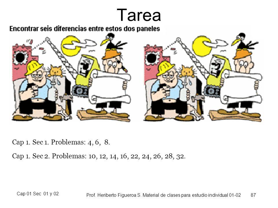 Cap 01 Sec 01 y 02 Prof. Heriberto Figueroa S. Material de clases para estudio individual 01-02 87 Tarea Cap 1. Sec 1. Problemas: 4, 6, 8. Cap 1. Sec