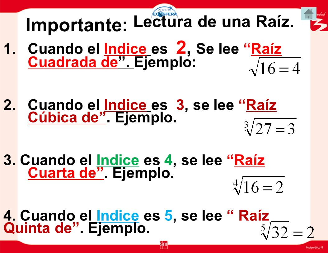 Radicación Elementos de la Radicación( Raíz) 4 16 =2 RAÍZ (Base) INDICE (Exponente) CANTIDAD SUBRADICAL (Potencia) Símbolo de Raíz 2 4 Exponente = 16