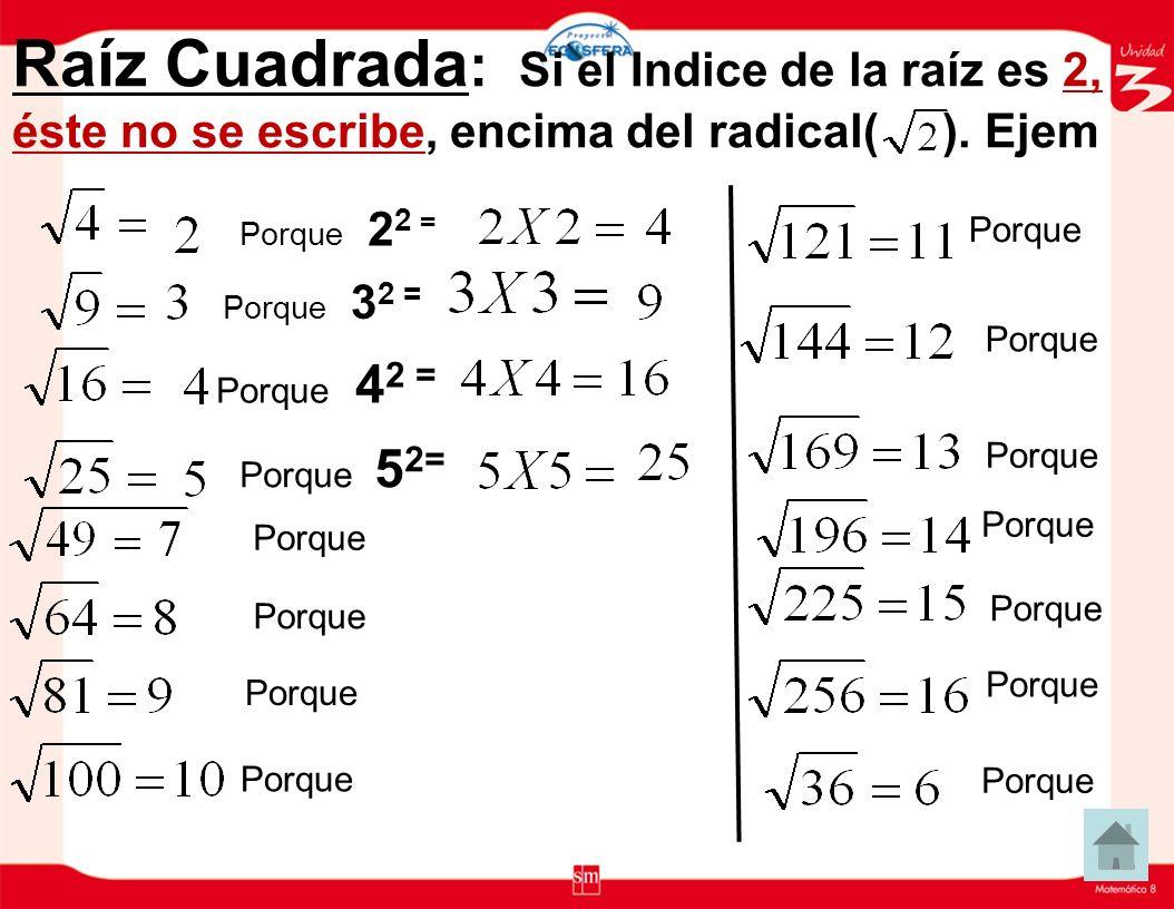 Importante: Lectura de una Raíz. 1.Cuando el Indice es 2, 2, Se lee Raíz Cuadrada de. Ejemplo: 2.Cuando el Indice es 3, se lee Raíz Cúbica de. Ejemplo