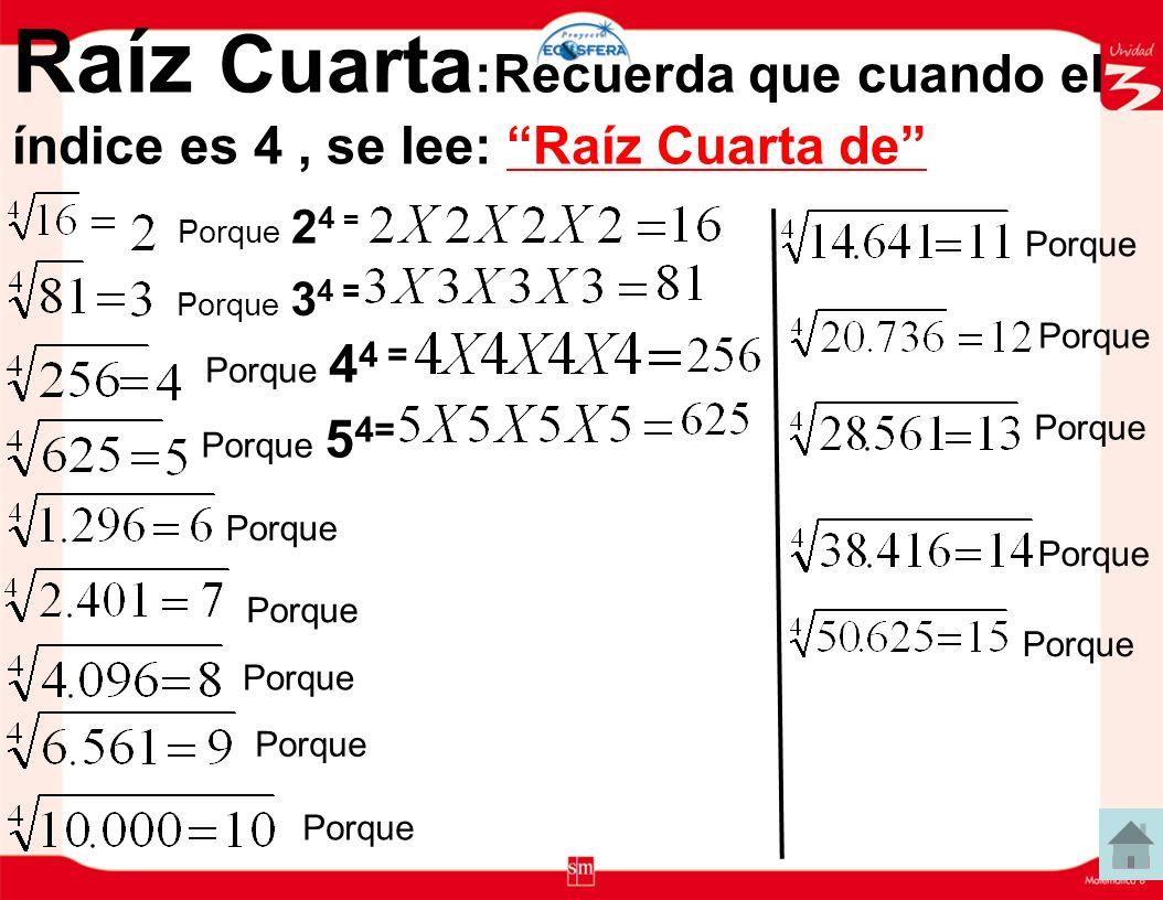 Raíz Cúbica :Recuerda que cuando el índice es 3, se lee: Raíz Cúbica de Porque 2 3 = Porque 3 3 = Porque 4 3 = Porque 5 3= Porque