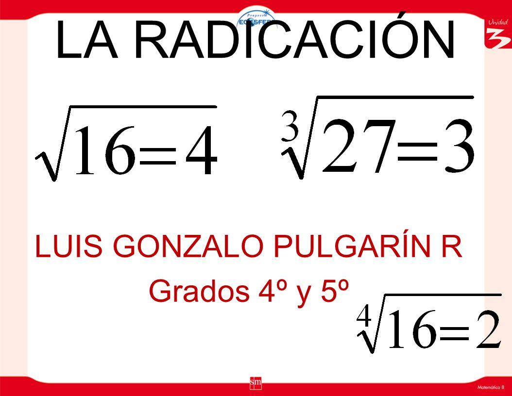 LA RADICACIÓN LUIS GONZALO PULGARÍN R Grados 4º y 5º