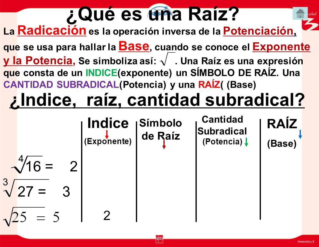 Potencias de base un número negativo Si la base es un número negativo: Las potencias de base negativa y exponente impar son negativas.