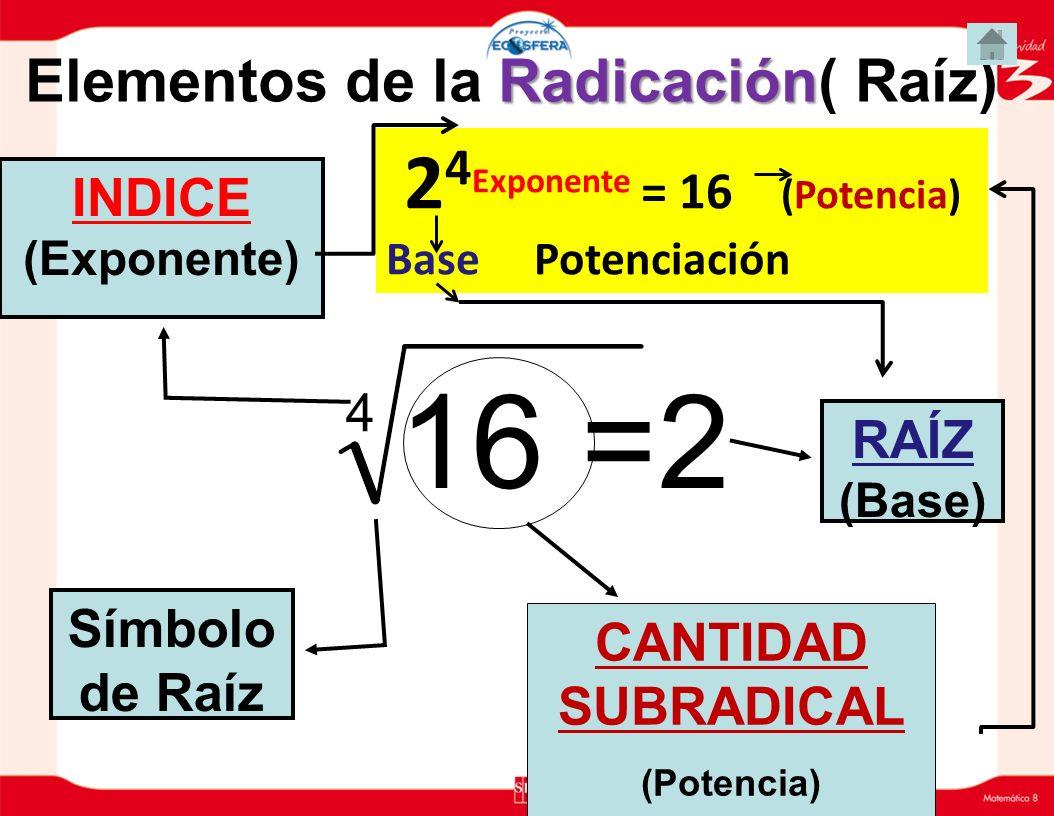 Radicación Elementos de la Radicación( Raíz) 4 16 =2 RAÍZ (Base) INDICE (Exponente) CANTIDAD SUBRADICAL (Potencia) Símbolo de Raíz 2 4 Exponente = 16 (Potencia) Base Potenciación
